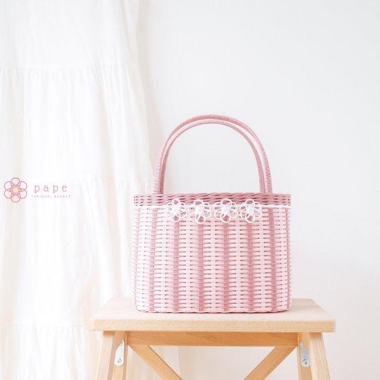 プチフラワーのカゴバッグM*ピンク【受注生産】
