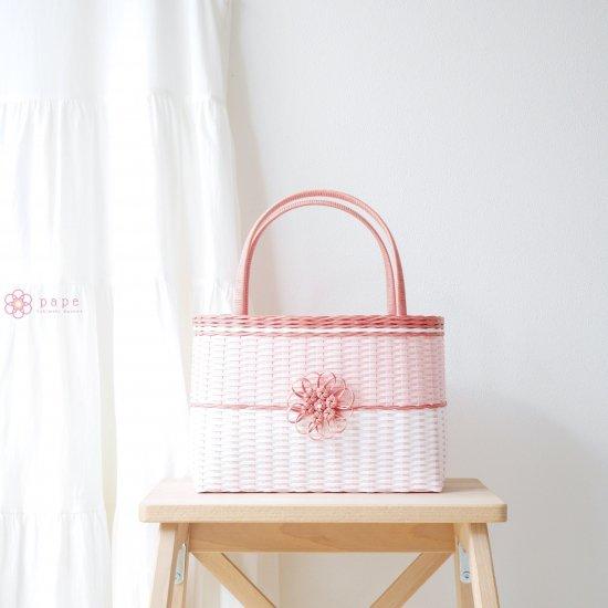 華やかな花飾りのカゴバッグM*バイカラーピンク