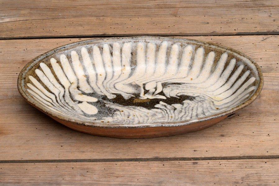 中嶋窯 白流し楕円皿