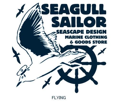 Seagull Sailor フロントプリント マリンTシャツ / ユリカモメをモチーフにした、ファニーで、爽やかなマリンテイストデザイン。3種類から選べる!