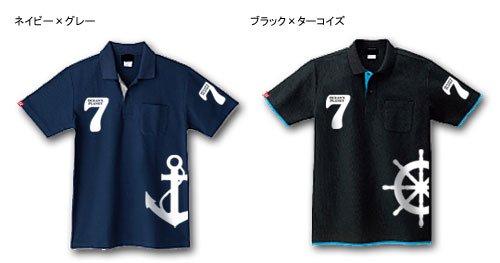 7オーシャンズ レイヤード マリンポロシャツ / マリンプリントを施した、重ね着風の着こなしが楽しめるポロシャツ、2種類のデザインから選べる!