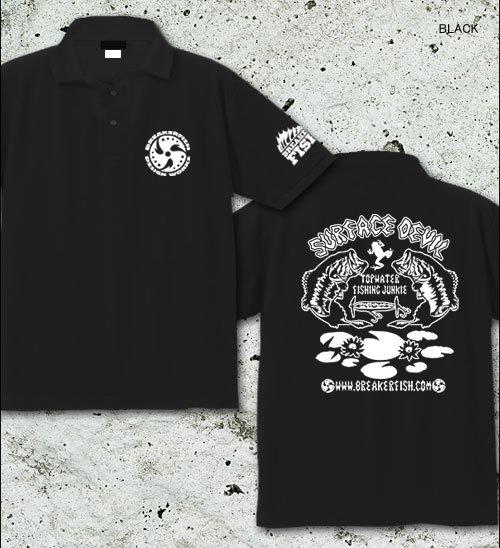 SURFACE DEVIL バスフィッシングポロシャツ / ブラックバスのトップウォーターフィッシングをクールなタッチでデザイン!