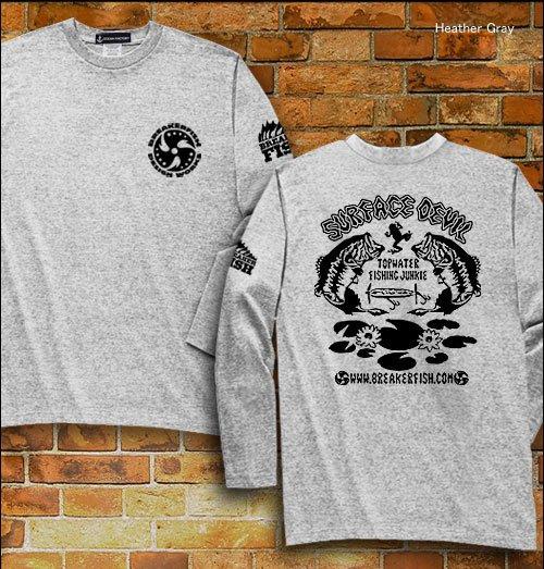 SURFACE DEVIL バスフィッシング長袖Tシャツ / ブラックバスのトップウォーターフィッシングをクールなタッチでデザイン!