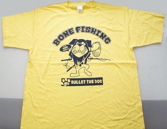 BULLET THE DOG フロントプリントTシャツ/BORN FISHING/イエロー/XL/アウトレット品