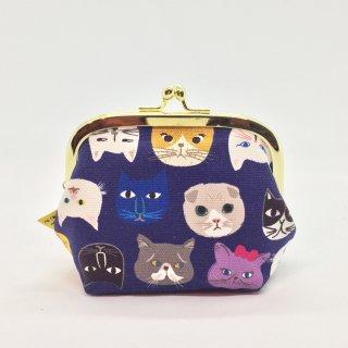 京都 kitekite (キテキテ) がま口 中サイズ 猫博覧会 青