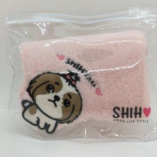 【ネコポス対応】SHIH D・O・G アップリケ付きタオルハンカチ シーズー