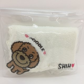 【ネコポス対応】SHIH D・O・G アップリケ付きタオルハンカチ プードル(茶)