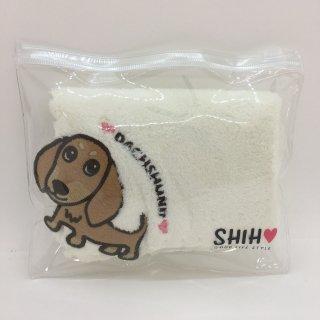 【ネコポス対応】SHIH D・O・G アップリケ付きタオルハンカチ ダックス(茶)