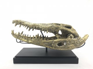 GOLD CROCODILE HEAD ON STAND -L