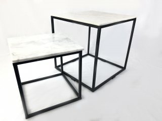 Q1 SIDE TABLE IRON FRAME MATT BLACK W/TOP WHITE MARBLE SET