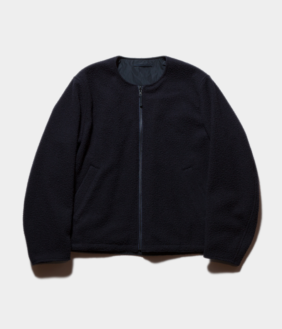 unfil アンフィル napped wool-melton collarless reversible blouson リバーシブルブルゾン