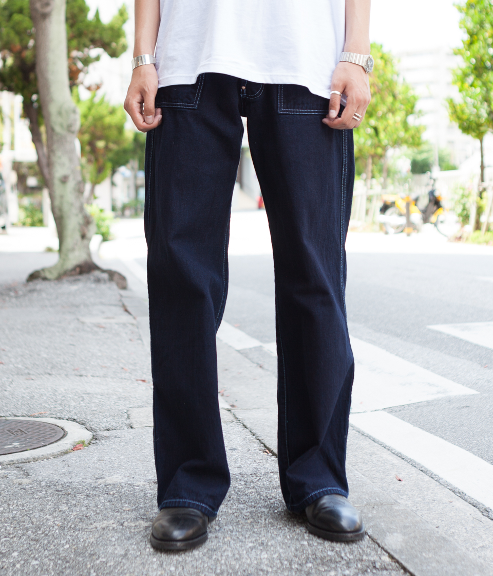 Tender Co. テンダー 126 Side Cinch Oxford Trousers Indigo/Indigo Cotton Taunton Rinse Wash