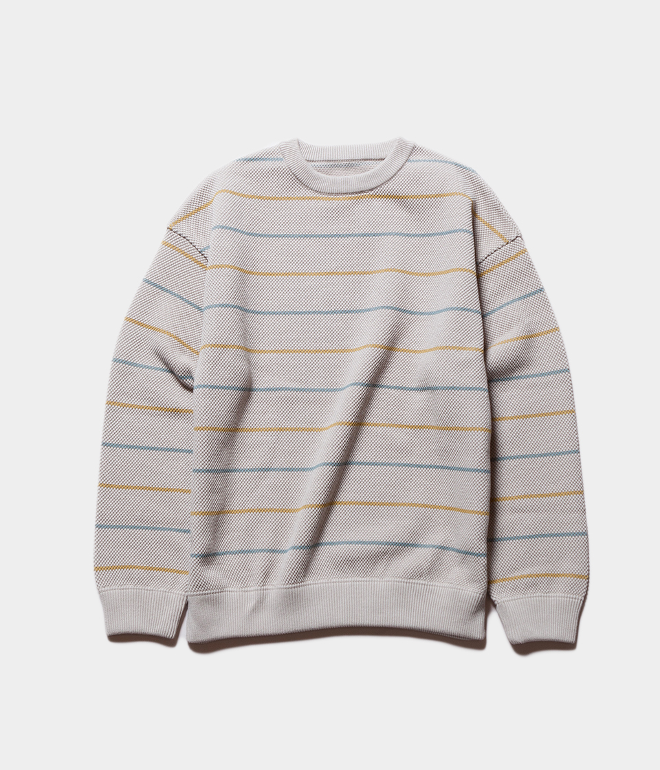 Crepuscule クレプスキュール border moss stitch L/S sweat ボーダーモスステッチロングスリーブスウェット