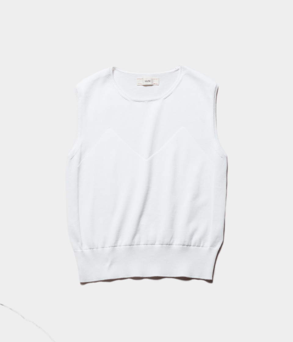 unfil アンフィル egyptian cotton fine gauge-knit sleeveless top スリーブレスニット