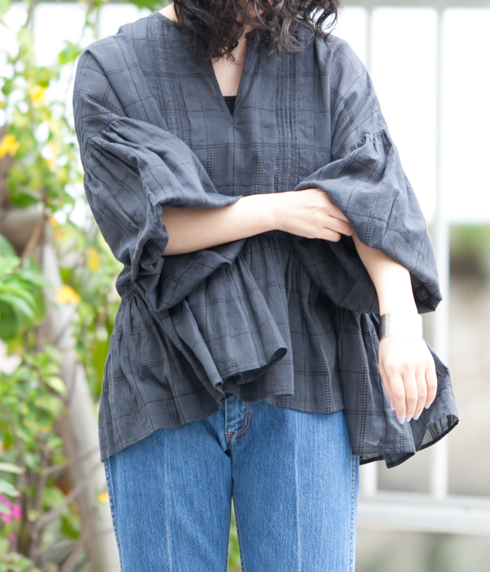ne Quittez pas ヌキテパ Dobby Check Pin Tuck Top ドビーチェックピンタックトップ