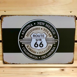 ルート66ウィングデザインのブリキ看板
