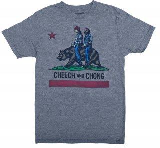 チーチアンドチョンの二人がカリフォルニア州旗のベアーに乗ったおもしろTシャツ