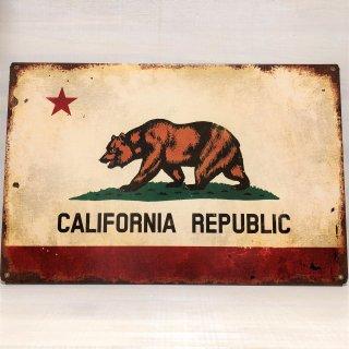 サビ加工がリアルなカリフォルニア州旗柄の重厚スティールプレート
