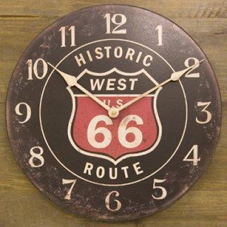 ルート66のオールドルックな時計(黒)