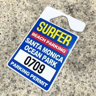 西海岸サンタモニカの駐車許可証をパロディした駐車タグ♪ルームミラーに取り付け可。