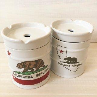 カリフォルニア州旗柄のドラム缶型アッシュトレイ(灰皿)