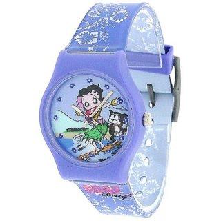 ベティちゃん BETTY BOOP サーフ&フラガールデザインの腕時計 パープル