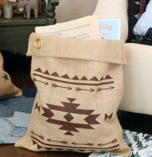 使い方様々...ジュート (黄麻) 素材のネイティブ柄マルチ袋