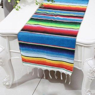 Mexican Serape メキシカンサラペ アウトドアやテーブルランナー等のインテリアに最適♪BLUEベースカラー