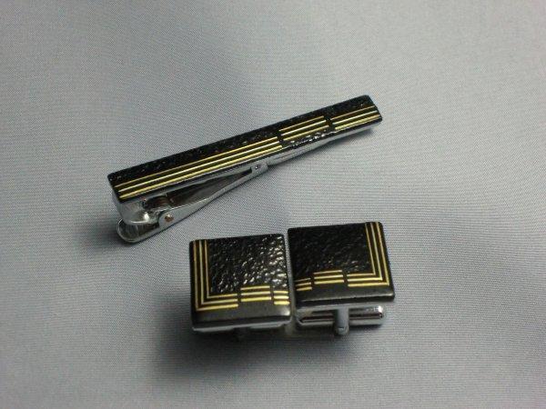 タイ留め 縞模様(カフスセット)