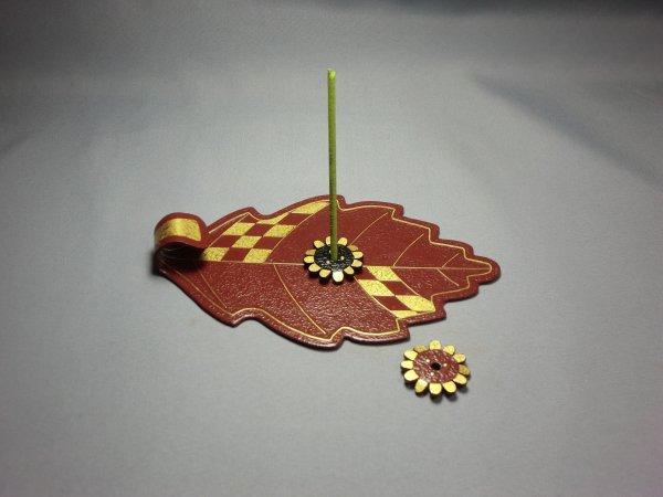 香皿と香立(葉脈と花/赤)