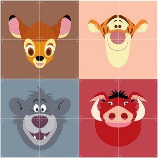 Disney All Stars : Bambi / Tiger / Baloo / Pumba / IXXI ウォールピクチャー