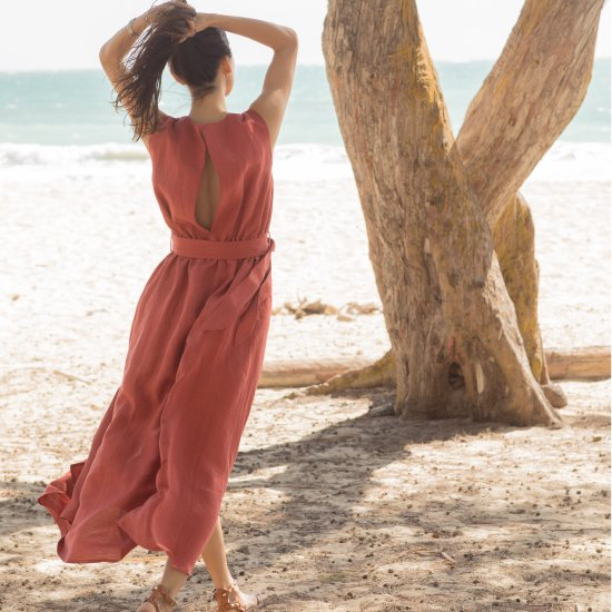 Linen Dress - Brick Red