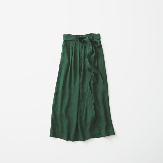 Linen Wrap Skirt  -Green