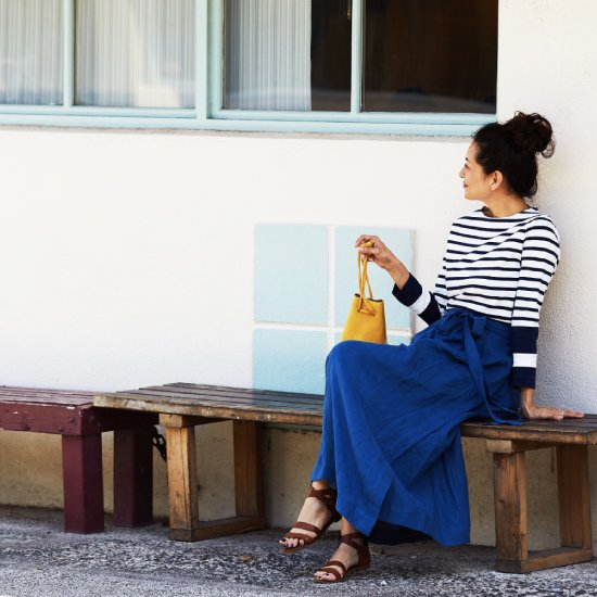 Linen Wrap Skirt - Indigo Blue