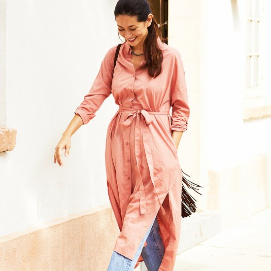 残り10枚!!  Shirt Dress - Coral Pink 期間限定Special price!!