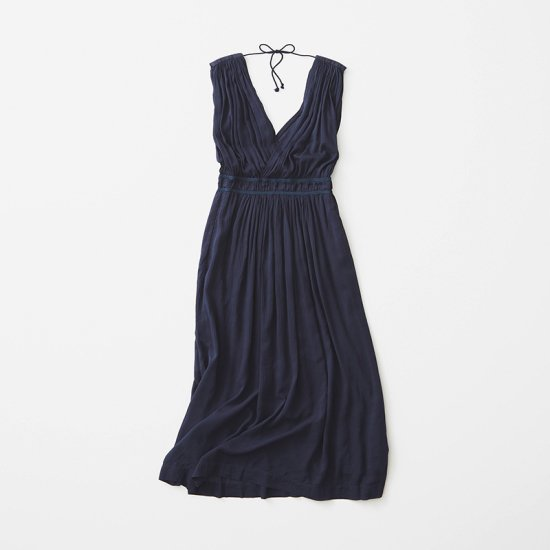 Double V-Neck Dress  -Navy