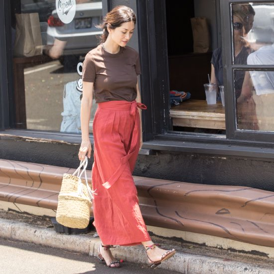 Linen Wrap Skirt - Brick Red