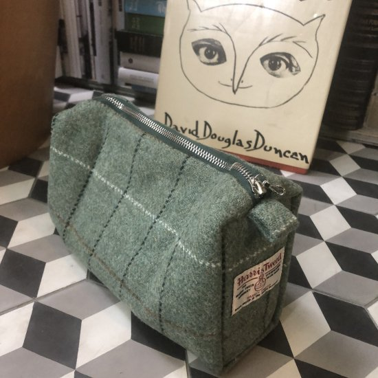 DR.HARRIS×HARRIS TWEED ポーチ-CHECK