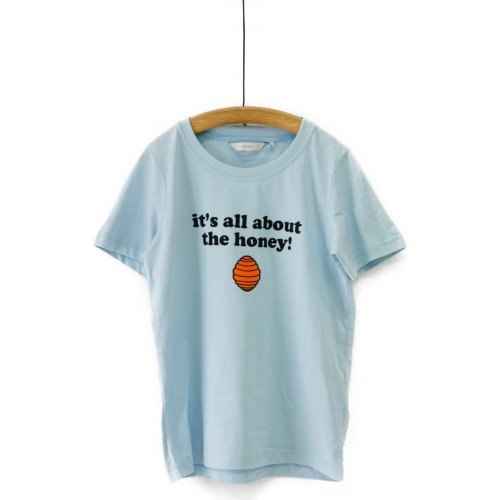 【最終価格】【SALE60%オフ】NUMPH ニンフ<br>プリントTシャツ ホワイト ペールブルー<br>デンマーク/メール便対応可能