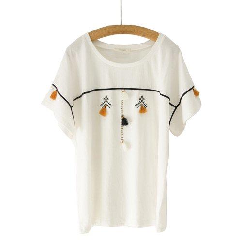 【最終価格】【SALE50%オフ】LOUIZON ルイゾン<br>タッセル刺繍コットンTシャツ<br>/メール便対応可能/フランス