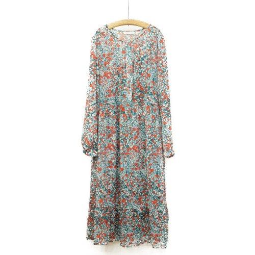 【MORE SALE50%オフ】<br>NUMPH ニンフ<br>フラワープリントワンピース インナードレス付き<br>デンマーク