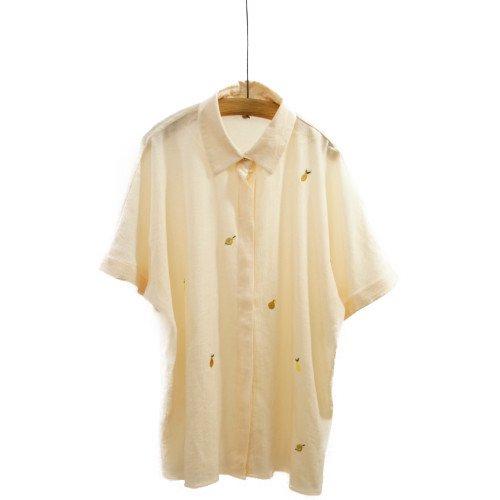 NUMPH ニンフ<br>レモン刺繍楊柳シャツ<br>デンマーク/メール便対応可能