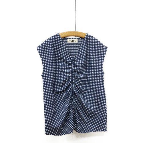 【MORE SALE30%オフ】<br>Citta シッタ<br>ゆがみギンガムTシャツ<br>メール便対応可能/日本