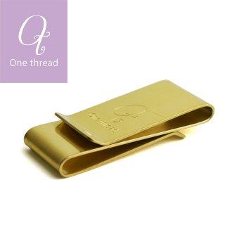 One thread(ワンスレッド) マネークリップ 両面 ダブルクリップ カードクリップ 真鍮 ワイド ソリッドブラス One thread ワンスレッド オリジナル 金色 無垢 ゴールドカラー