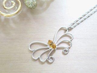 バタフライ ネックレス シトリン Butterfly