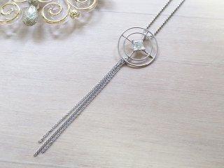 雪の結晶ロング ネックレス Crystal of Snow ジルコニア【受注生産】