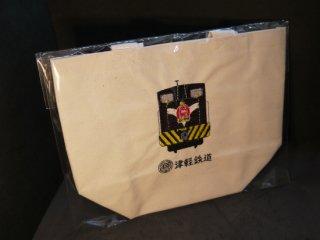 機関車刺繍トートバック白色(中)