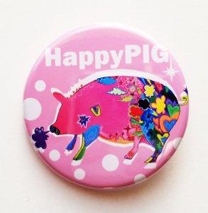 """缶バッチ """"幸せのピンクのブタさん"""""""