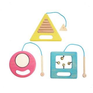 gg* [ジジ] / ○△□gakki [ガッキ] 木のおもちゃ 木製玩具 楽器 音 3点セット 日本製