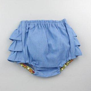 mimi poupons [ミミプポン] / フリルパンツ / デニムライトブルー